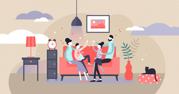Family at home vector illustration. Flat tiny together joy persons concept. vector art illustration