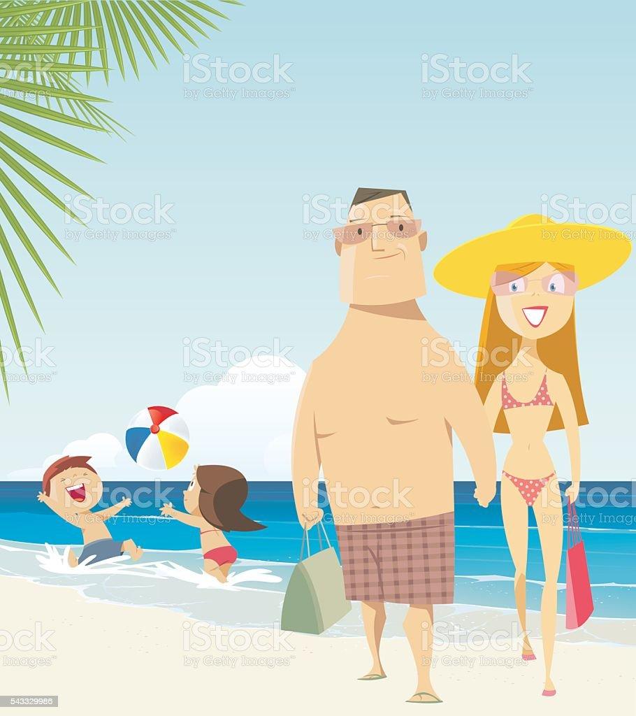Family at the Beach vector art illustration
