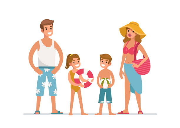 Familie am Strand – Vektorgrafik