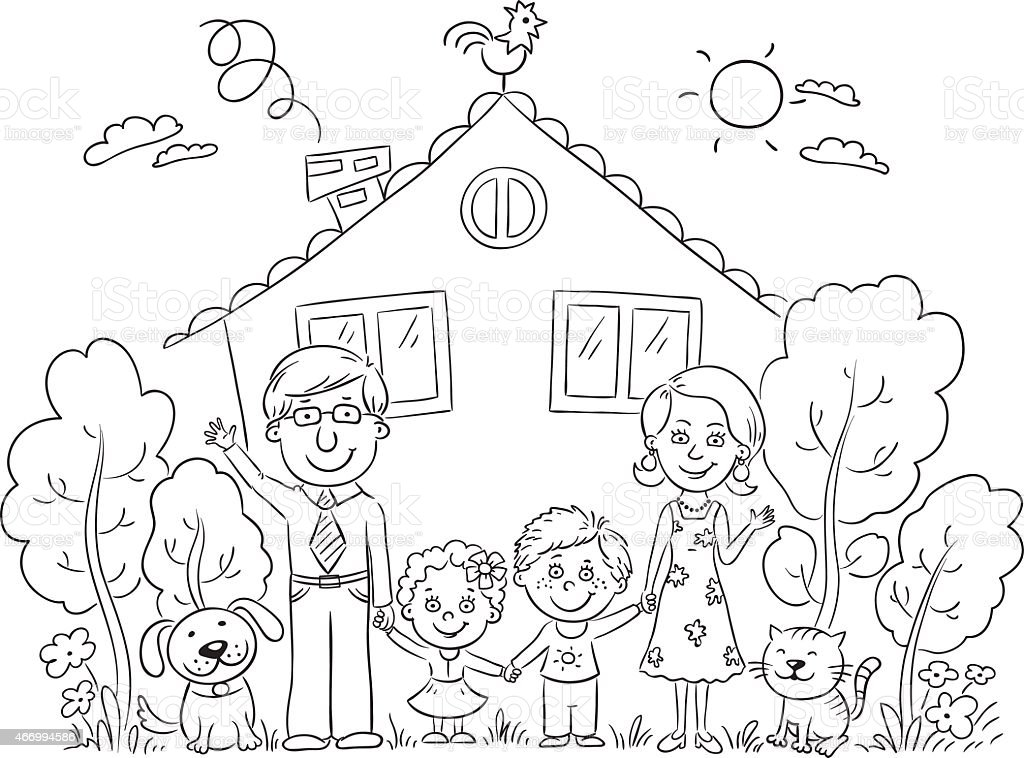 Family At The House Outline Stock Vector Art Amp More Images