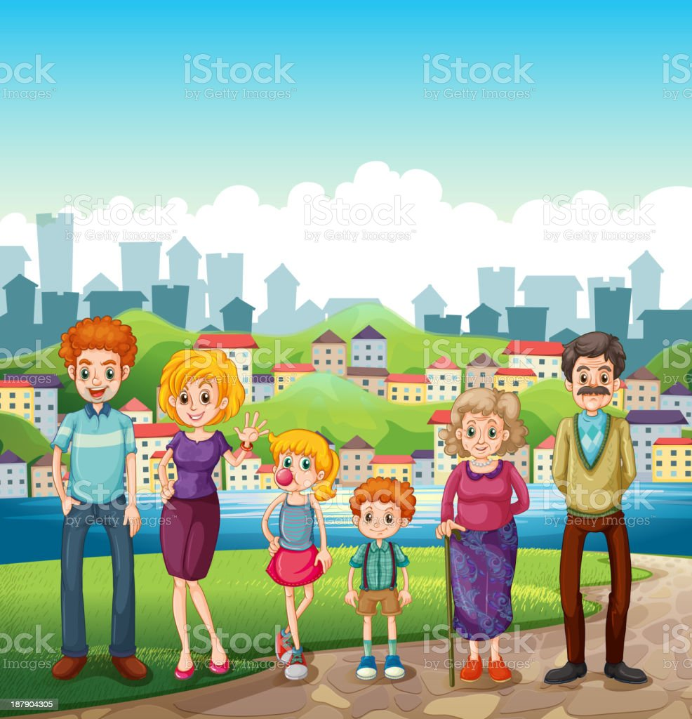 family at the riverbank royalty-free stock vector art