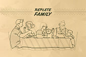 Family at the table vector outline illustration. Happy parents, grandparents, kids having dinner together, chatting, hug each other. Farm product packaging, replete family  textured paper backdrop