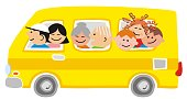 Big family at yellow car, funny vector illustration