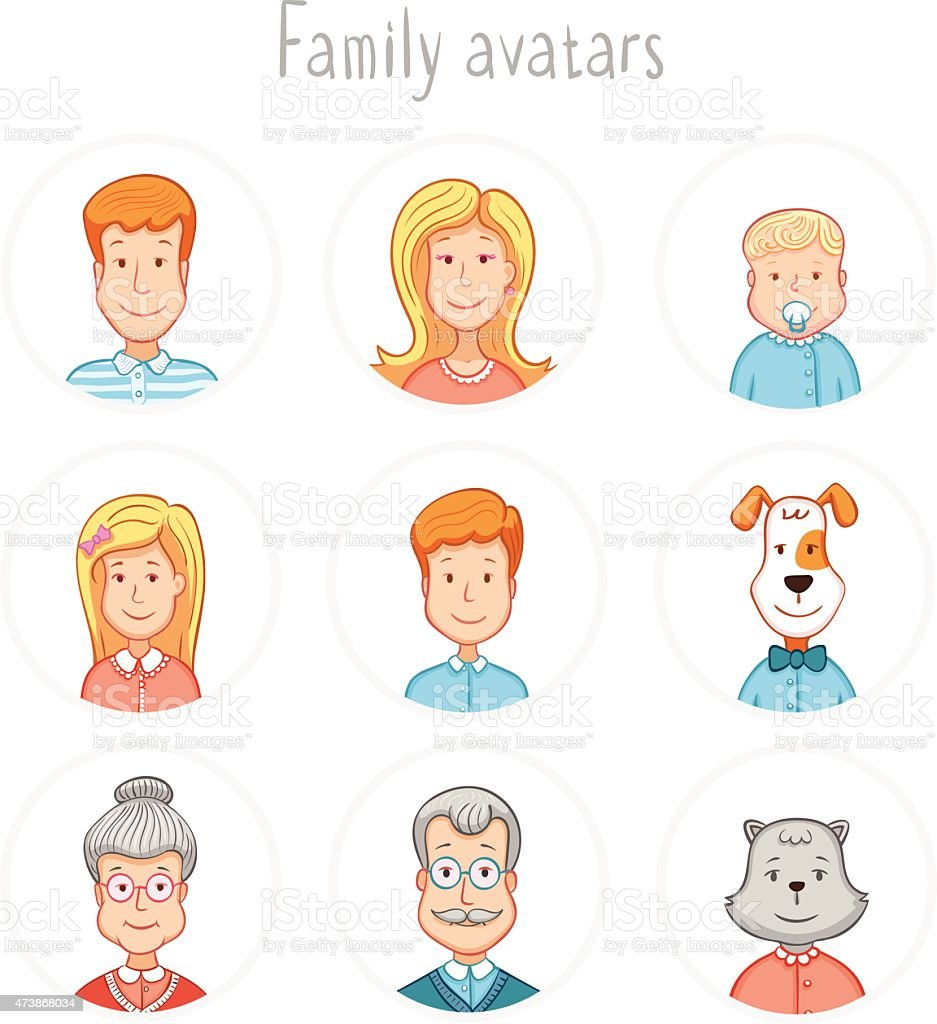 Family avatars collection vector art illustration