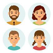 Set of happy family round avatars, flat design style. Vector illustration.