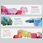 Vector watercolor banners including line icons set depicting families.