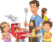 Vector illustration of a cheerful family with two children having a barbecue, isolated on white.