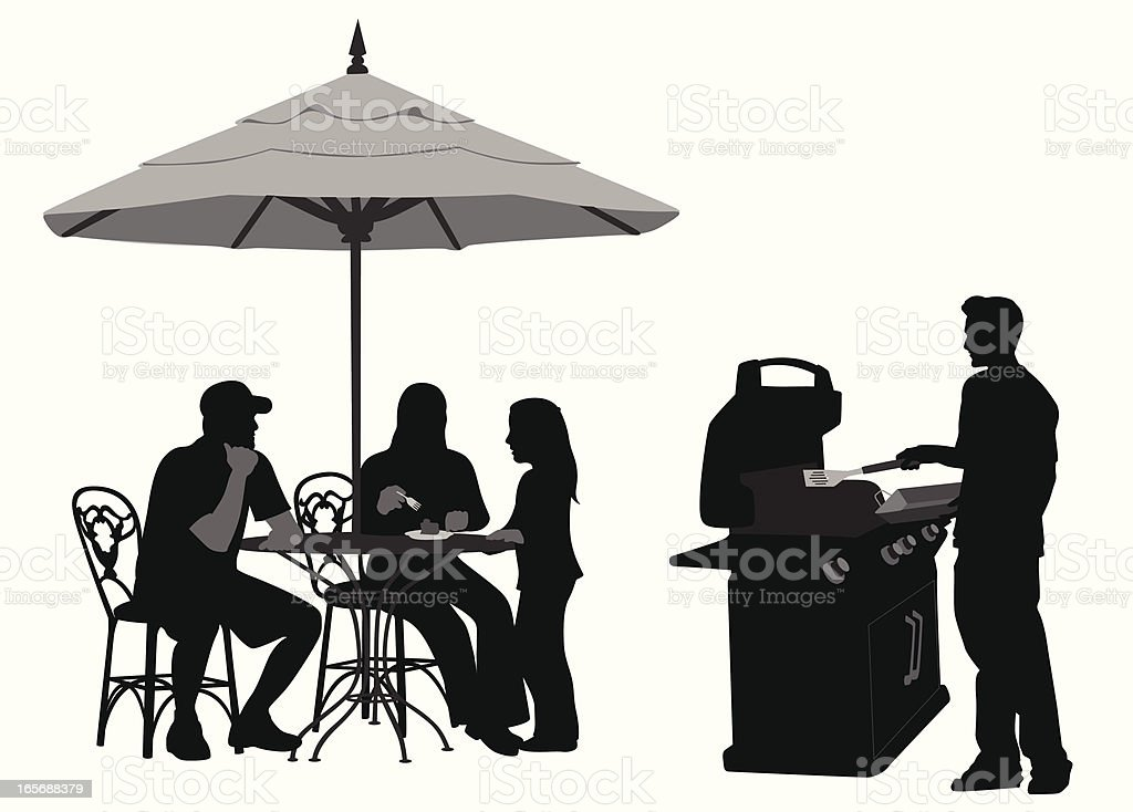 Family Barbecue Vector Silhouette royalty-free stock vector art