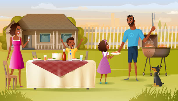 Family Barbeque Party on House Yard Cartoon Vector vector art illustration