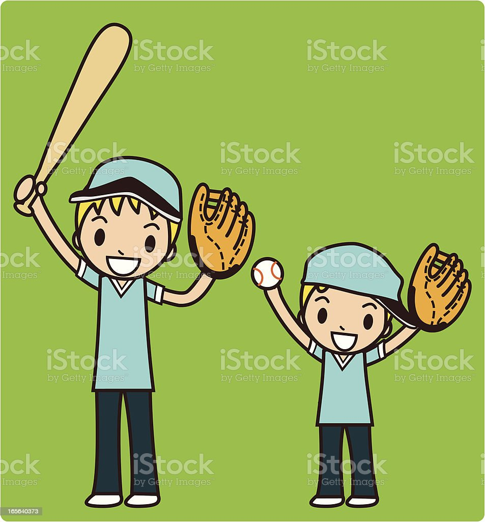 Family Baseball (Boys are on Ready for Game Day) royalty-free family baseball stock vector art & more images of activity