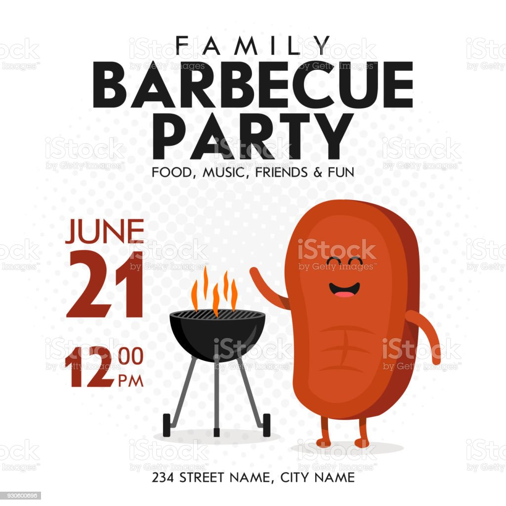 Family BBQ Party Invitation Template. Cute Steak Character Barbecue Time. Retro Background Vector Illustration vector art illustration