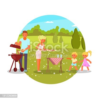 istock Family bbq, vector illustration. Mom dad kids cooking, eating grilled sausages. Barbecue party, summer leisure activity. 1312263859