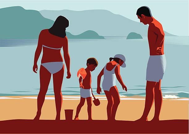 Vacances en famille sur la plage - Illustration vectorielle