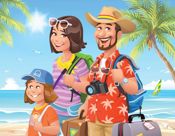 Family Beach Vacation Vector Art Illustration