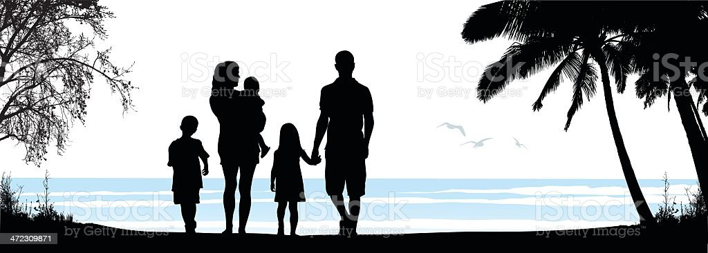 Family Beach vector art illustration