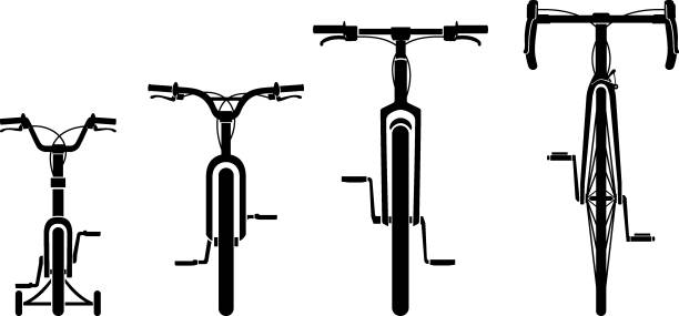 Family Bicycles Front View Isolated vector illustration of varied bike designs and size front view stock illustrations