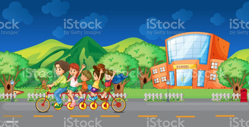 Family bike in front of the school royalty-free family bike in front of the school stock vector art & more images of bicycle
