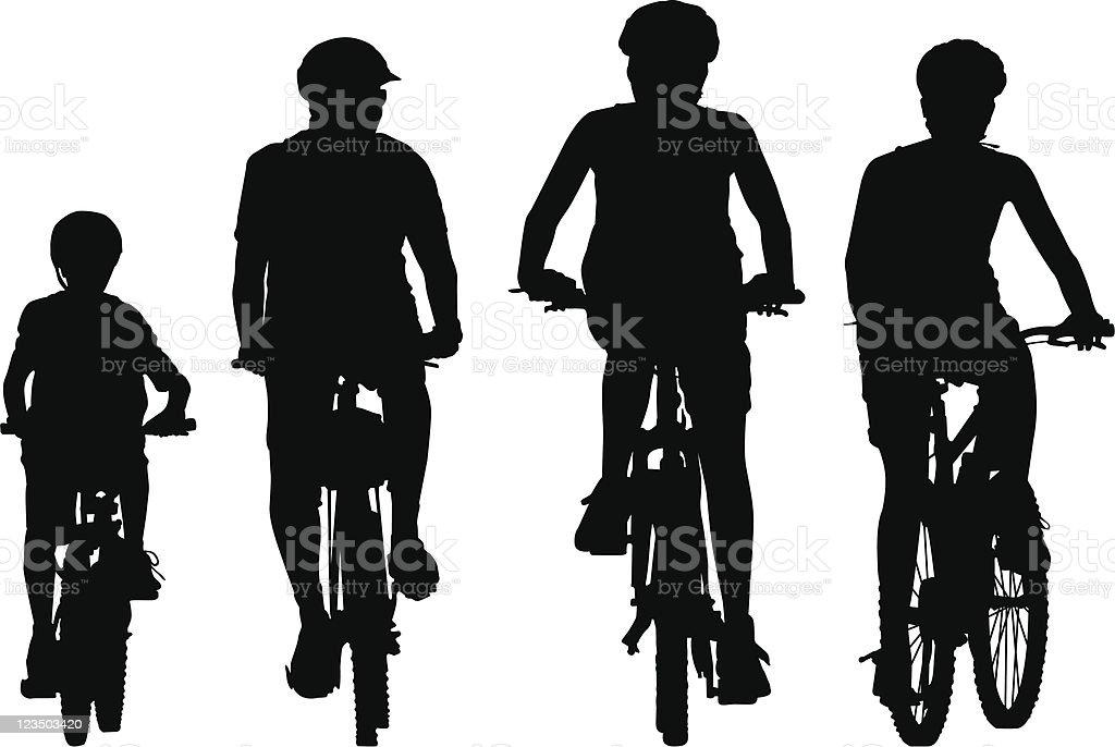 Family biking vector art illustration
