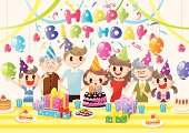 Happy family birthday party,8 people indoor,vector illustration,