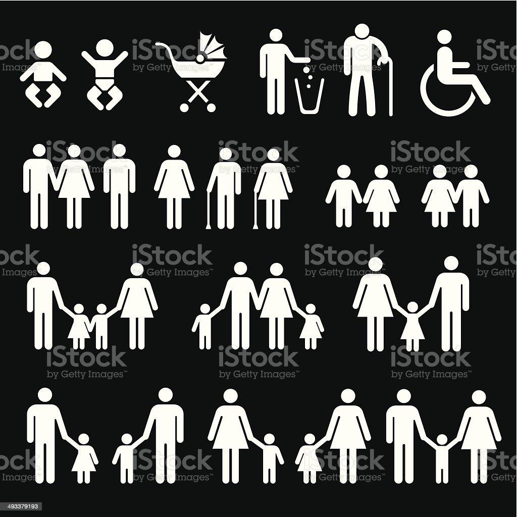 Famille en noir et blanc icon- illustration - Illustration vectorielle