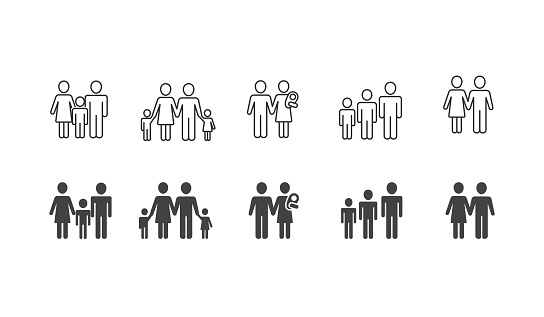 Family black silhouettes and outline icons set clipart
