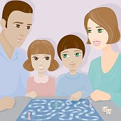 A family playing a board game. No gradients were used when creating this illustration.