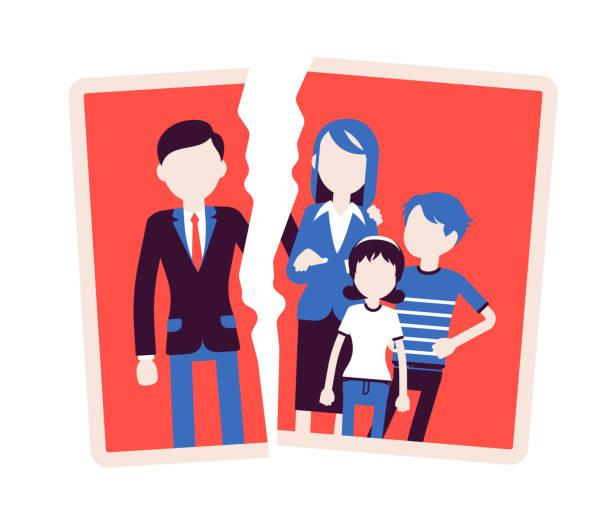 家族崩壊の問題 - 家族写真点のイラスト素材/クリップアート素材/マンガ素材/アイコン素材