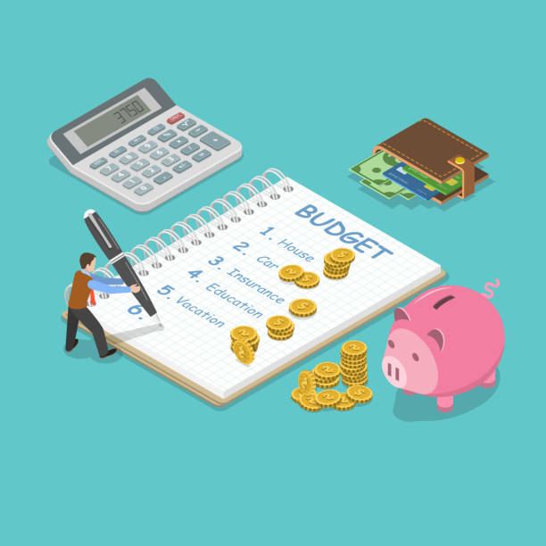 Family budget flat isometric vector concept. Family budget flat isometric vector concept. Man is planning the family budget and write down it into the notepad. There is some amount of money near of the each of the budget item. budget designs stock illustrations