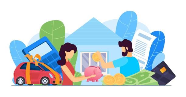 ilustrações de stock, clip art, desenhos animados e ícones de family budget planning at crisis, money economy bank problem fin - bills couple