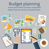 Family budget planning. Financial accounting. Organization process. Flat style vector.  Finance planning. Accounting family money. Financial calculation. Budget planning concept. Personal finance.