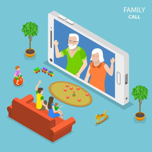 ilustrações de stock, clip art, desenhos animados e ícones de family call flat isometric vector concept. - tv e familia e ecrã