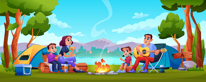 Family campers parents and children resting on nature with tents, camping hiking people in forest, mountains on background. Vector people sitting at campfire together, playing guitar, singing song