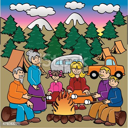 A family camping and cooking marshmellows.  The .zip includes an .eps 8,.ai for illustrator 10, and a .jpg.