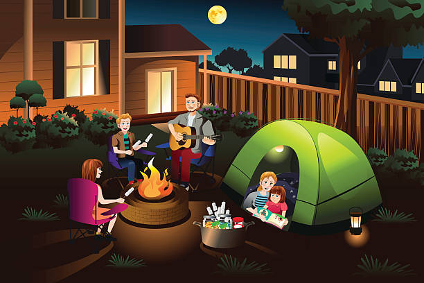 Family Camping in the Backyard vector art illustration