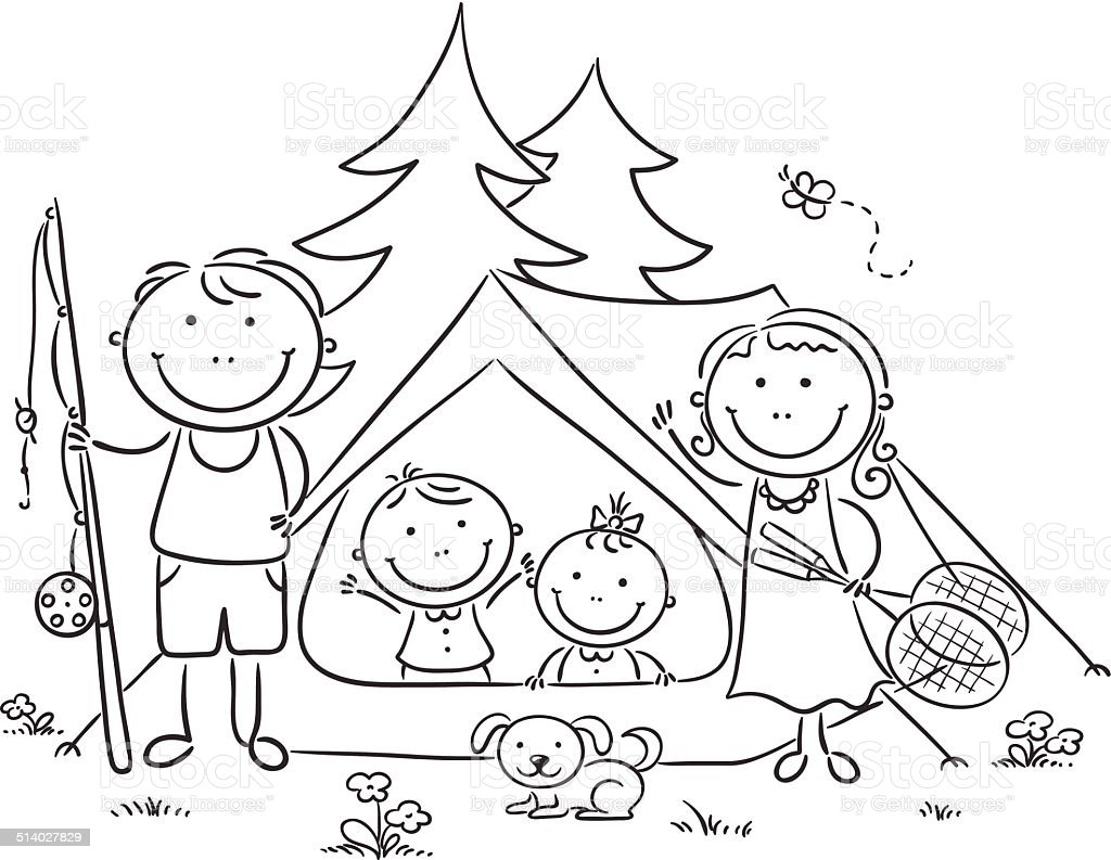 Familia Campamento En El Bosque - Arte vectorial de stock y más ...