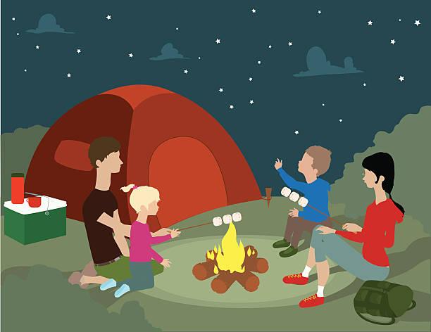 Family Camping Vector Art Illustration