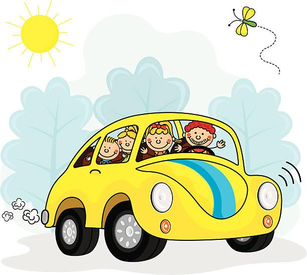 Family Car Kids vector art illustration