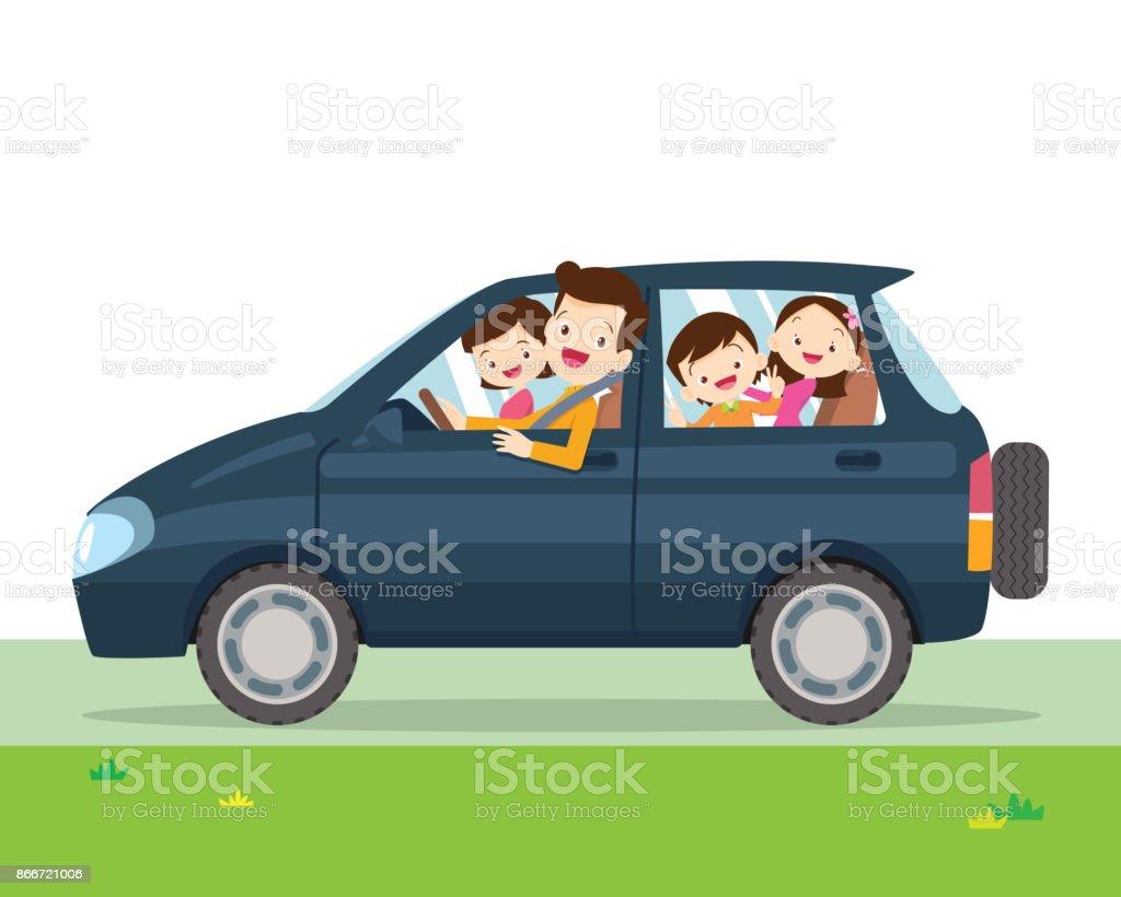 Ilustración de coche familiar simplificada de un vehículo - ilustración de arte vectorial