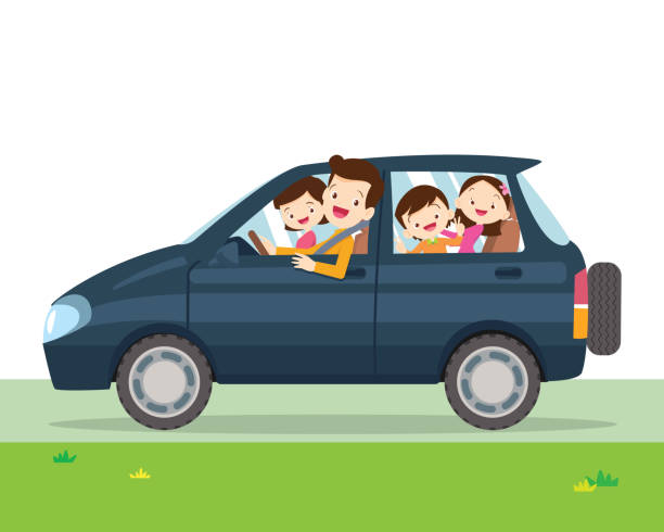 family car simplified illustration of a vehicle vector art illustration