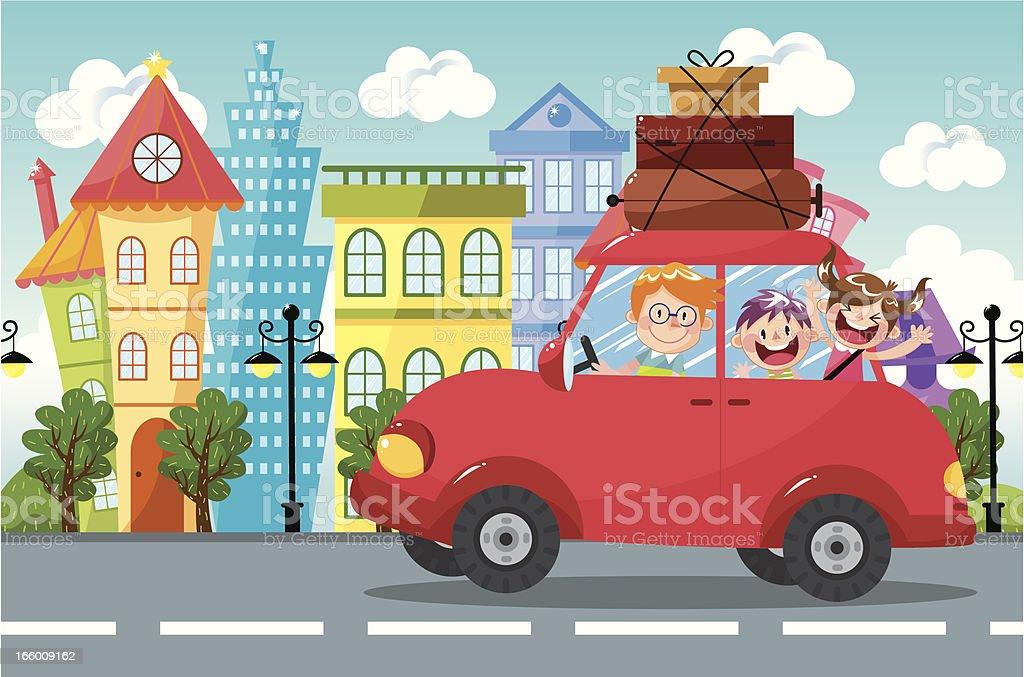 Family car travel vector art illustration