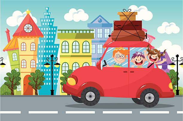 illustrations, cliparts, dessins animés et icônes de famille en voiture - vacances en famille