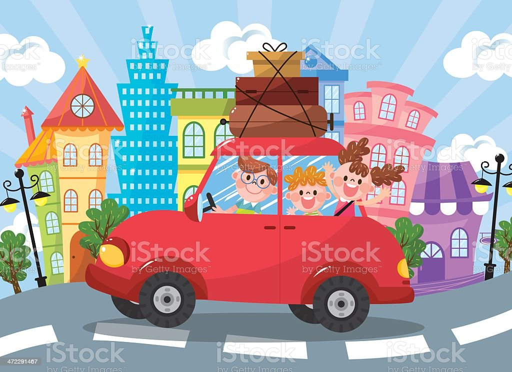 Family car travel vector art illustration