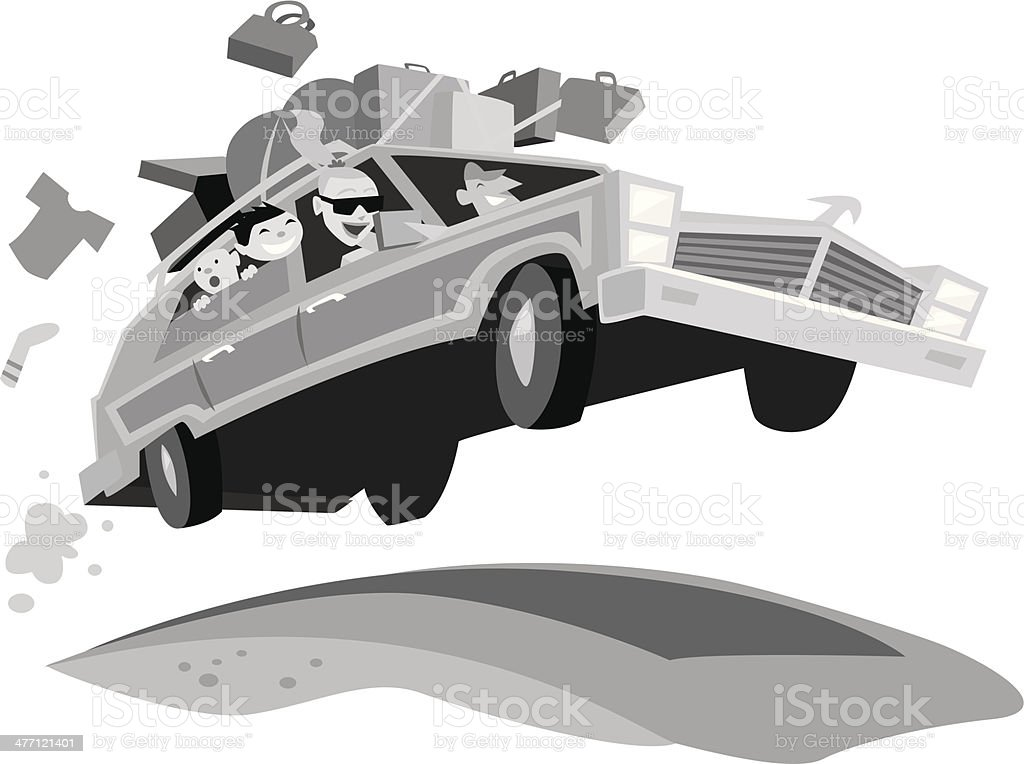 Family Car Trip vector art illustration