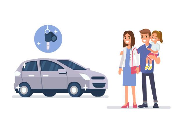 ilustrações, clipart, desenhos animados e ícones de veículos para a família - carro mulher