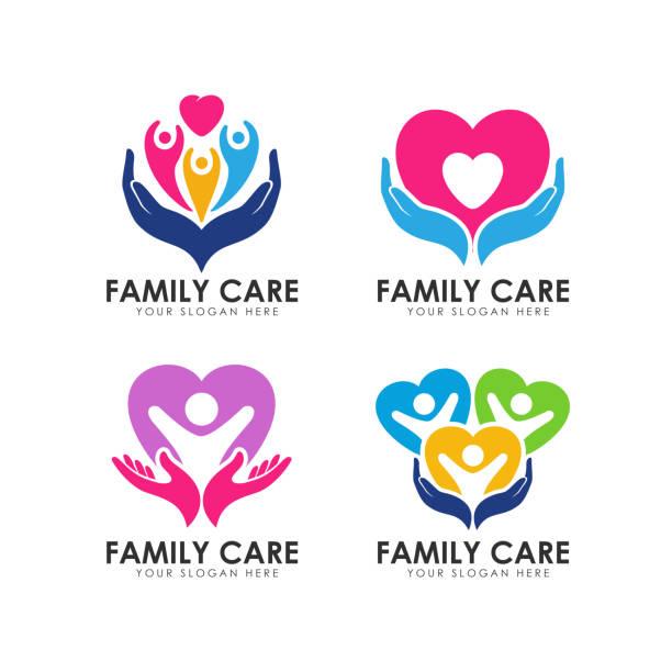 illustrazioni stock, clip art, cartoni animati e icone di tendenza di family care icons design template. hand care and heart shape vector icon - accudire