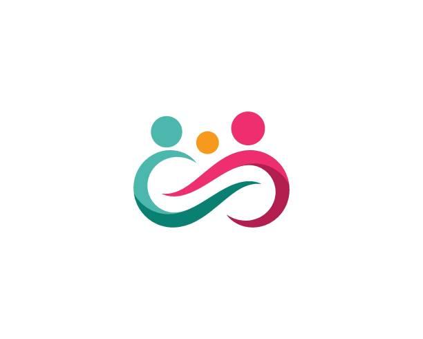 stockillustraties, clipart, cartoons en iconen met familie zorg logo sjabloon - adoptie