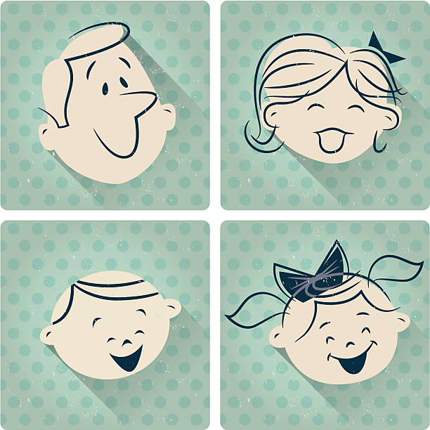 stockillustraties, clipart, cartoons en iconen met family cartoon retro - 20e eeuw