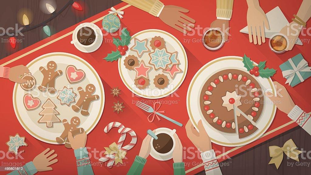 Famiglia Festeggia il Natale a casa - arte vettoriale royalty-free di 2015