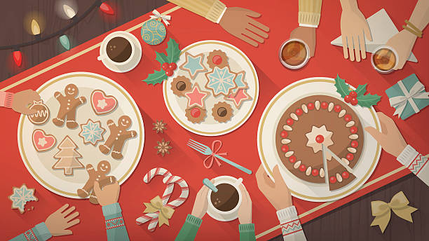 Christmas Food and drink stock illustrations