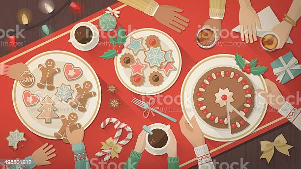 Famiglia Festeggia Il Natale A Casa - Immagini vettoriali stock e altre immagini di 2015